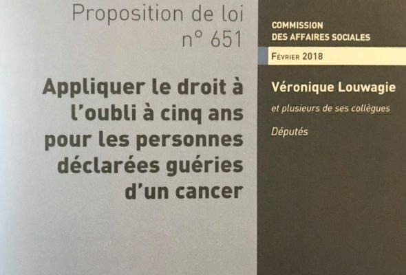 PROPOSITION DE LOI  visant à appliquer le droit à l'oubli à cinq ans pour les personnes déclarées guéries d'un cancer