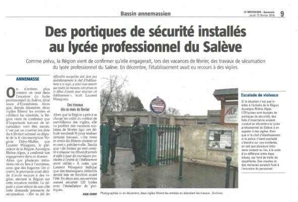 Travaux de sécurisation au lycée professionnel Le Salève.