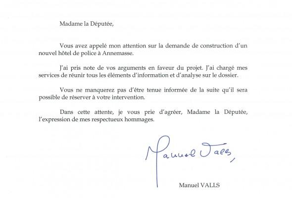Lettre de Manuel VALLS sur le futur hôtel de police d'Annemasse