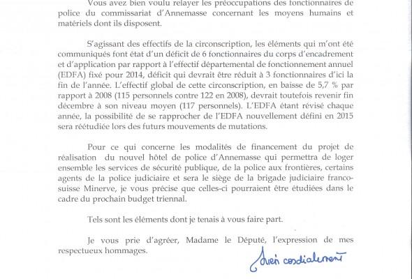 Lettre du Ministre de l'Intérieur sur les moyens humains et matériels du Commissariat d'Annemasse