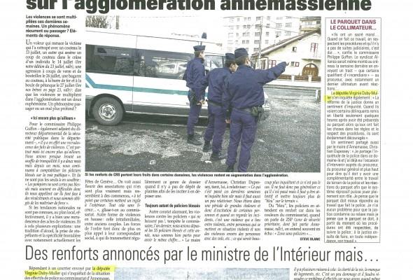 Toujours plus de violence sur l'agglomération annemassienne (LM)