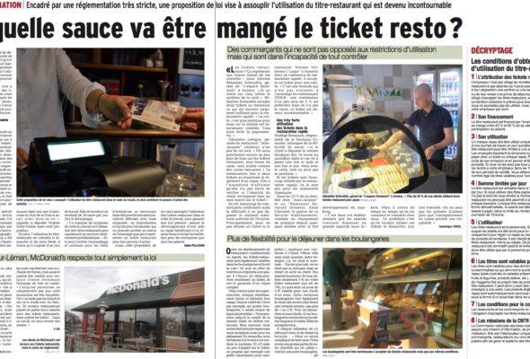 Dossier dans le Dauphiné Libéré sur la PPL visant à élargir l'usage du ticket-restaurant
