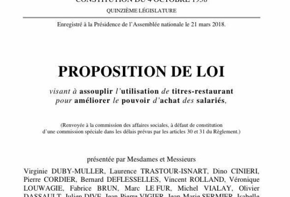 Dépôt d'une Proposition de loi  visant à assouplir l'utilisation de titres-restaurant pour améliorer le pouvoir d'achat des salariés