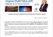 V. Duby-Muller reconduite dans sa fonction de Secrétaire départemental Les republicains74
