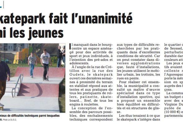 Seyssel / le skatepark fait l'unanimité chez les jeunes