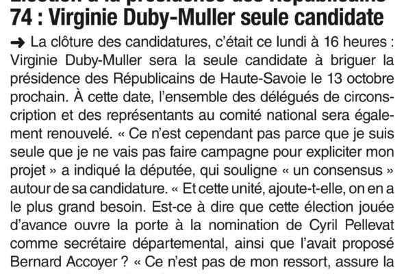 Élection à la présidence des LR74 : V. DUBY-MULLER seule candidate