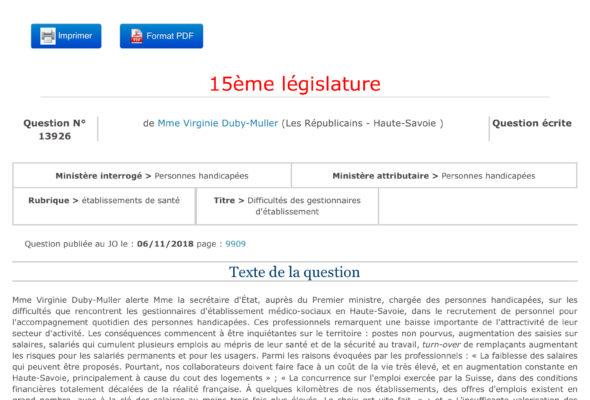 Question écrite sur les difficultés que rencontrent les gestionnaires d'établissement médico-sociaux en Haute-Savoie, dans le recrutement de personnel pour l'accompagnement quotidien des personnes handicapées