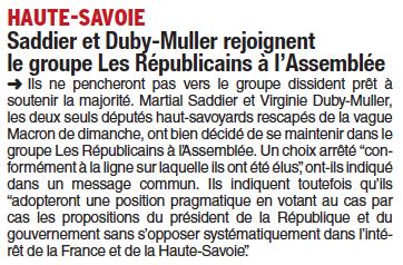 Saddier et Duby-Muller rejoignent le groupe Les Républicains à l'Assemblée