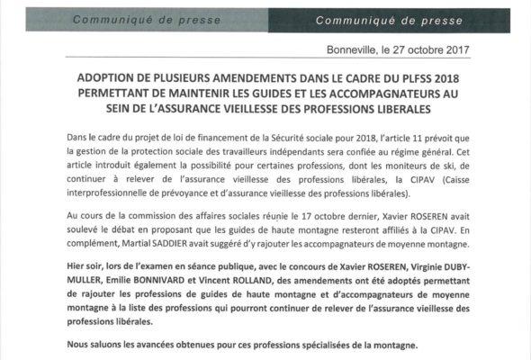 Communiqué de presse – Adoption de plusieurs amendements, dans le cadre du PLFSS 2018, maintenant les guides de haute montagne et les accompagnateurs de moyenne montagne au sein de l'assurance vieillesse des professions libérales