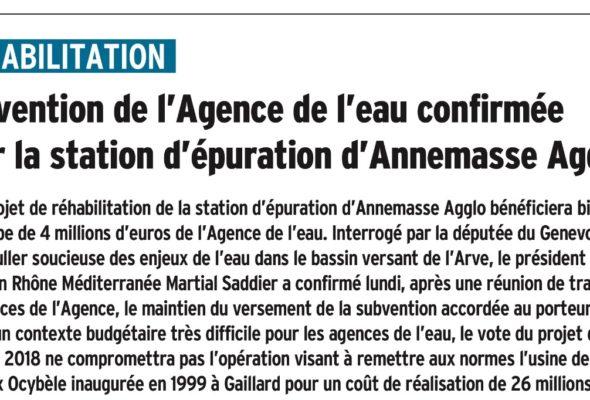 Subvention confirmée par l'Agence de l'eau pour la station d'épuration d'Annemasse agglo