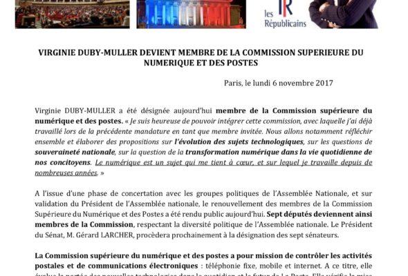 V. Duby-Muller membre de la Commission supérieure du numérique et des postes