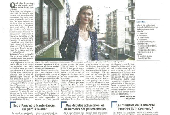 V. DUBY-MULLER : «Je continue à être un relais des problématiques locales» (Le Messager)