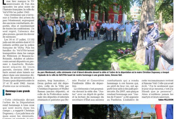 Cérémonie à la mémoire des victimes des crimes racistes et antisémites à Annemasse