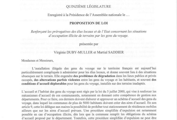 Proposition de loi concernant les situations d'occupation illicite de terrains par les gens du voyage