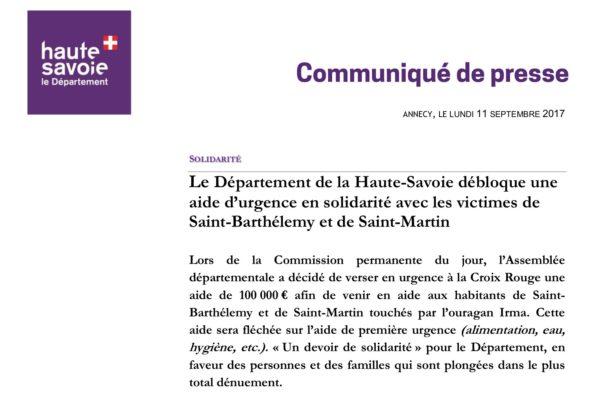 L'Assemblée départementale a décidé de verser en urgence à la Croix Rouge une aide de 100 000 € afin de venir en aide aux habitants de Saint-Barthélemy et de Saint-Martin touchés par l'ouragan Irma.
