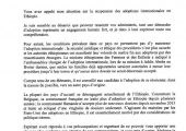 Réponse du Ministre des Affaires étrangères sur la suspension des adoptions en Ethiopie