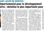 Le fonds départemental pour le développement des territoires : dotation la plus importante pour le canton (DL)