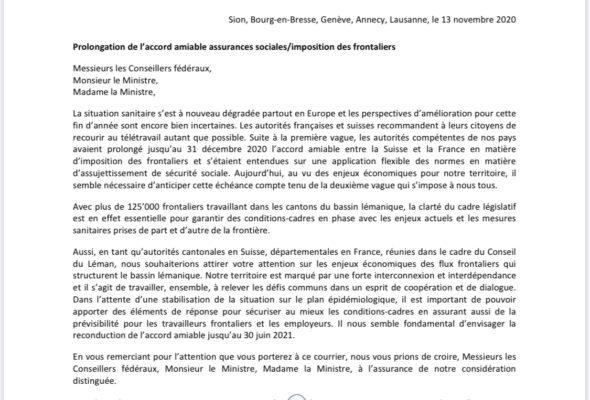 Courrier franco-suisse pour prolonger l'accord sur le télétravail au 30 juin 2021