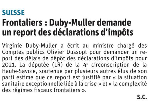 Courrier à O. Dussopt de reporter le délai des déclarations fiscales pour les travailleurs frontaliers.