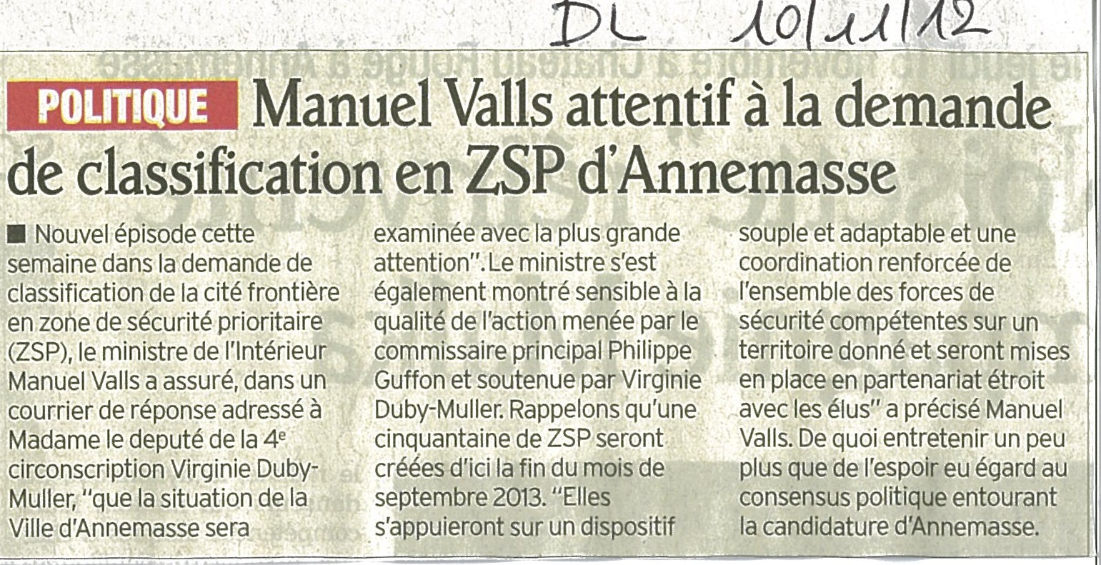 M. Valls attentif à la demande de classification en ZSP d'Annemasse (DL)