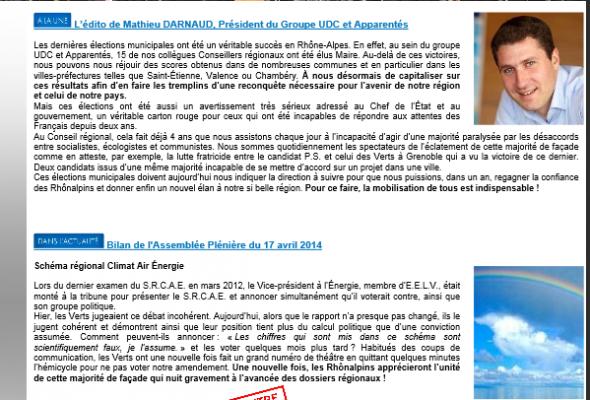 Bilan du Groupe UDC à la région Rhône-Alpes (session plénière du 17 avril)