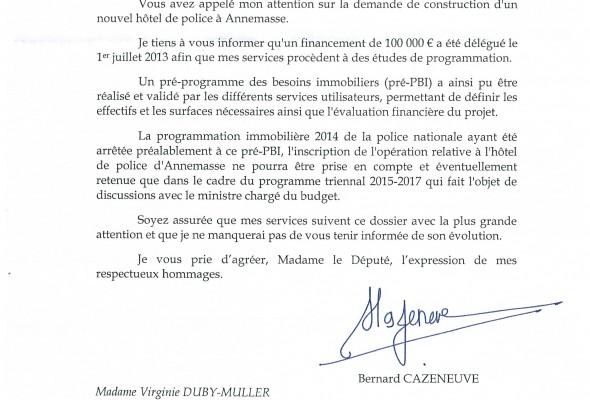Réponse du Ministre de l'intérieur sur le futur Hôtel de Police à Annemasse