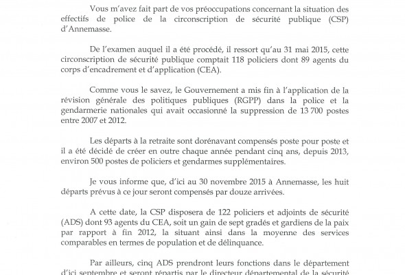 Réponse du Ministre de l'Intérieur sur les effectifs de police au Commissariat d'Annemasse