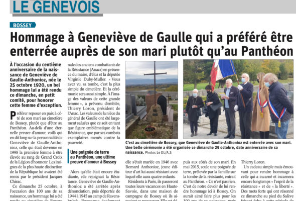 Bossey / hommage à Geneviève de Gaulle