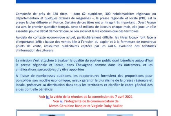 Mission flash avec G. Bannier sur les aides à la presse régionale et locale / note de synthèse
