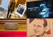 Dévoilement de la plaque en mémoire de Jacques Chirac par le président de l'Assemblée nationale et Claude Chirac