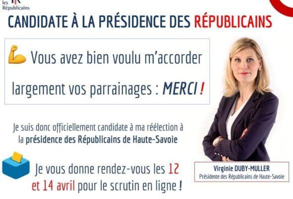 ✅ Je suis officiellement candidate à ma réélection à la présidence des Républicains de Haute-Savoie !