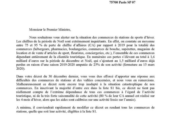 Courrier à l'attention de M. le Premier Ministre concernant les commerces de stations avec des collègues députés de territoire de la montagne
