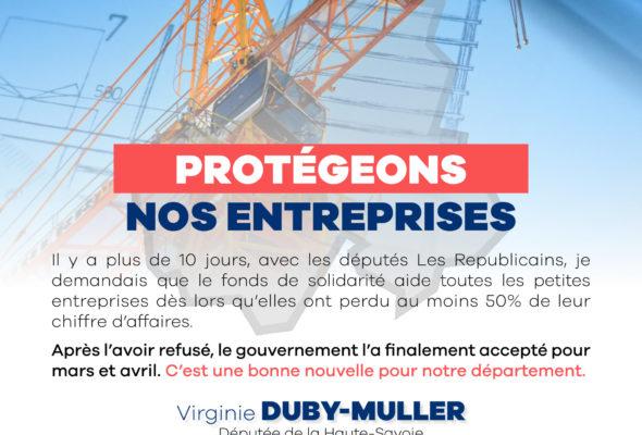 🏛➡️ Protégeons nos entreprises : je suis très mobilisée depuis le début de la crise, notamment pour élargir l'accès au fonds de solidarité à destination des entreprises particulièrement touchées par la crise. 🔵Aujourd'hui, enfin, le gouvernement suit notre avis !