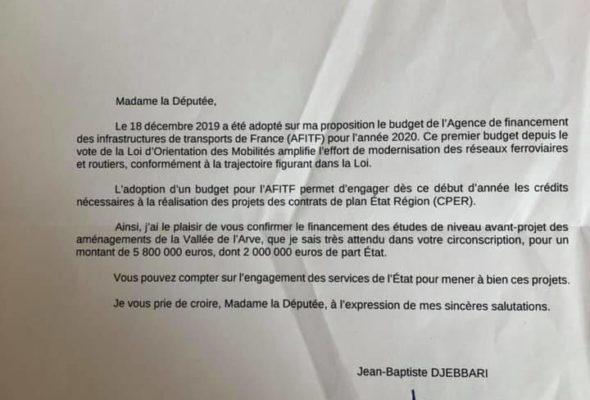 Lettre du secrétaire d'Etat chargé des transports pour le financement d'une étude pour le désenclavement ferroviaire de la Vallée de l'Arve