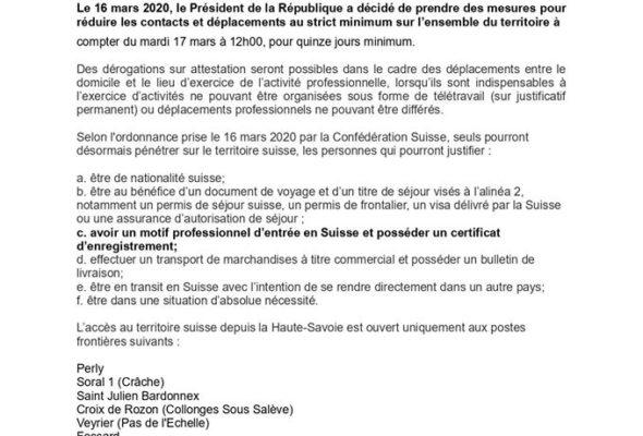 Nouvelles modalités d'accès en Suisse depuis la Haute-Savoie pour les travailleurs frontaliers