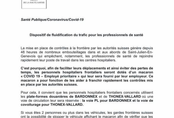Communiqué de presse de la Préfecture relatif à la mise en œuvre de mesures visant à fluidifier les déplacements transfrontaliers des professionnels de santé.
