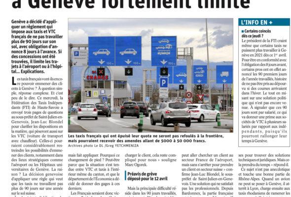 Le travail des taxis frontaliers fortement limité (DL)
