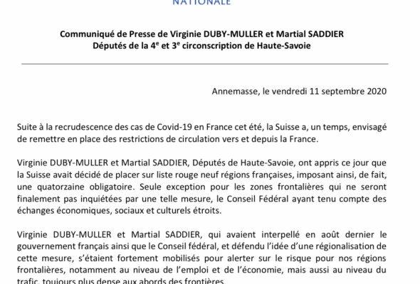 Réaction avec Martial Saddier après la décision du Conseil fédéral suisse de ne pas imposer de quarantaine pour les personnes en provenance des régions frontalières.🇫🇷🇨🇭