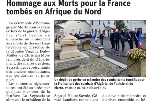 Seyssel / cérémonie d'hommage aux combattants morts pour la France en Algérie, Maroc et Tunisie