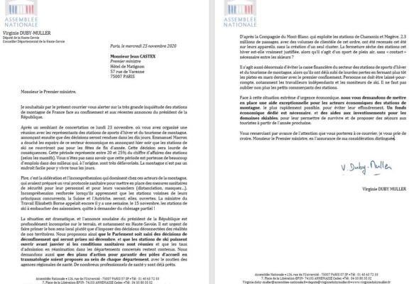 Lettre au Premier ministre et au ministre de l'Économie sur la situation de nos stations de montagne.