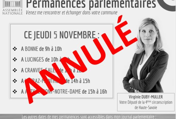 Annulation des permanences le 5 novembre en raison du confinement