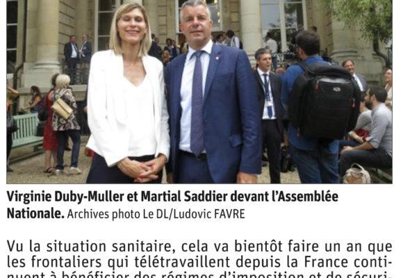 Avec Martial Saddier, Sylviane Noël et Cyril Pellevat, nous demandons la prolongation fiscale du télétravail des frontaliers