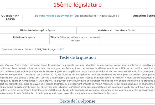 Question écrite au ministre des sports sur la situation administrative concernant les licences compétition triathlon