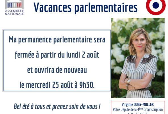 Fermeture de la permanence parlementaire du 2 au 25 août