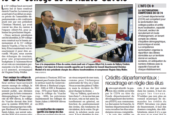 Le Vuache accueillera à l'horizon 2020 le 51ème collège de lâ Haute-Savoie (DL)
