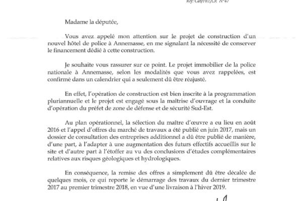 Réponse du Ministre de l'Intérieur au sujet du futur Hôtel de Police d'Annemasse